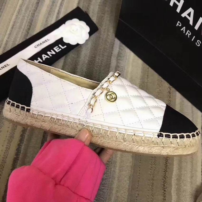 11653fb2b70 Chanel Espadrilles Quilted Lambskin Shoes with Chain White