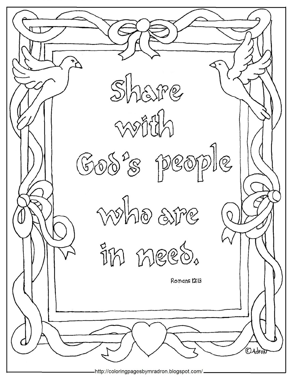 Printable Share With Those In Need Bible Verse Coloring Page
