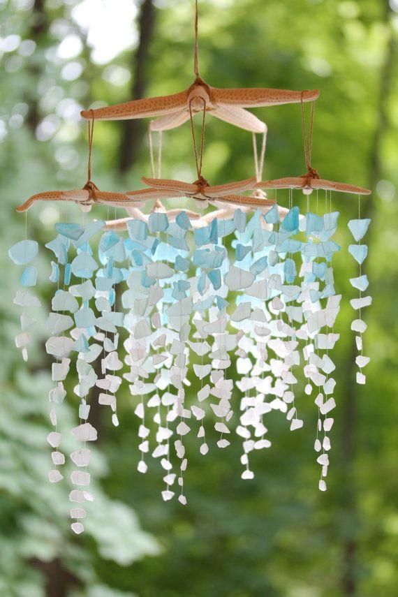 Sea Glass & Starfish Mobile Colossal Ombre Sea glass mobile, seaglass mobile, sea glass chandelier, seaglass windchime, sea glass art
