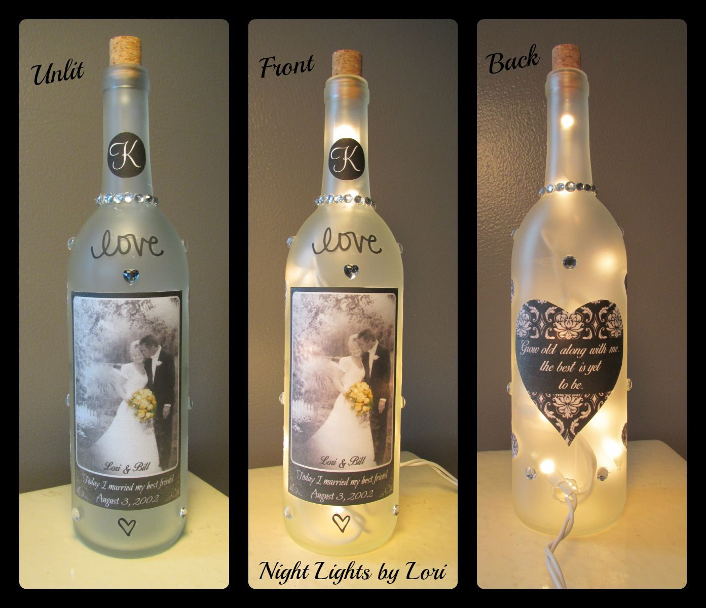 Personalized Black And White Wedding Wine Bottle Night