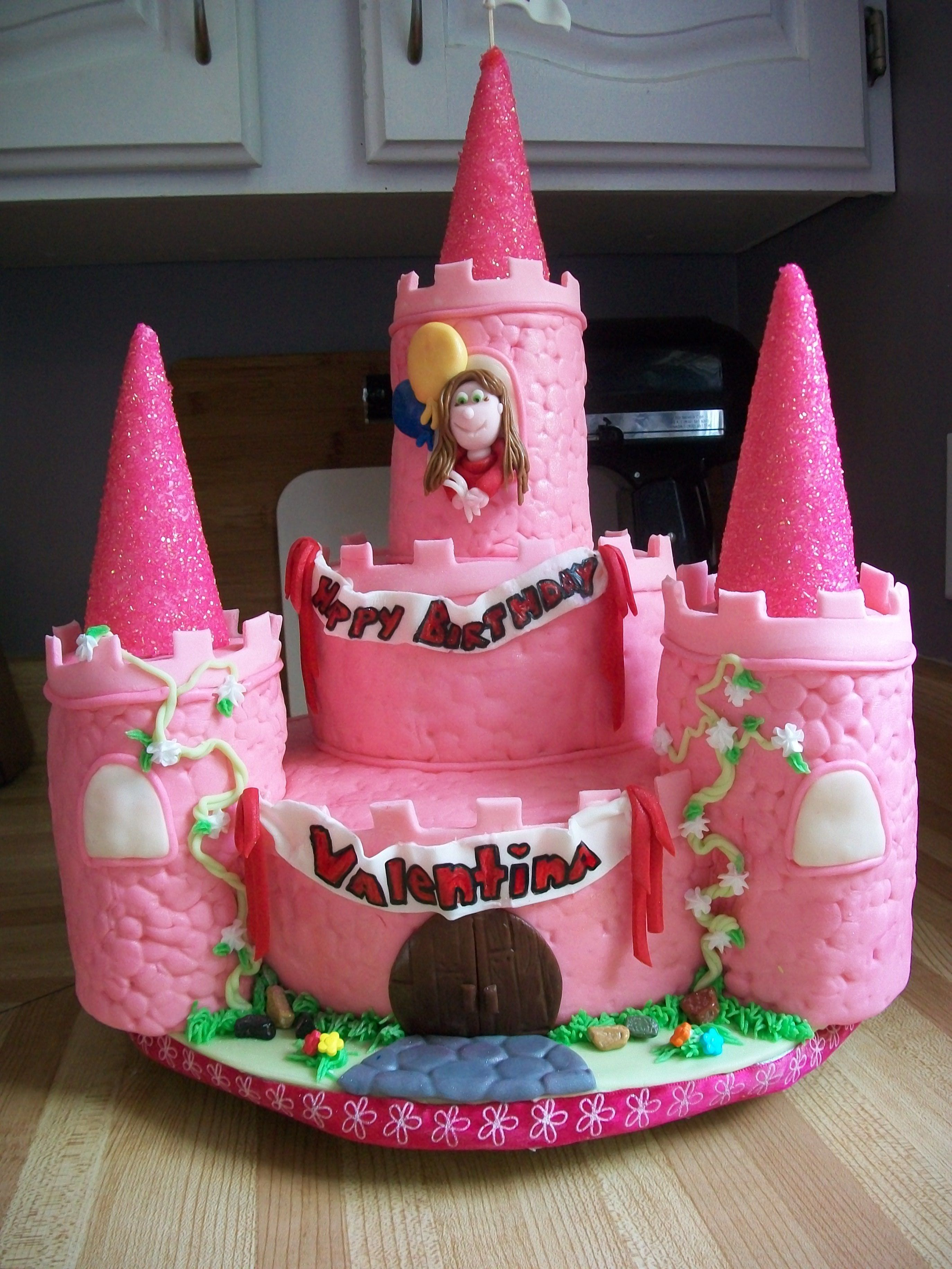 pink castle cake - marble cake for a 5 year old girl-rushed i only