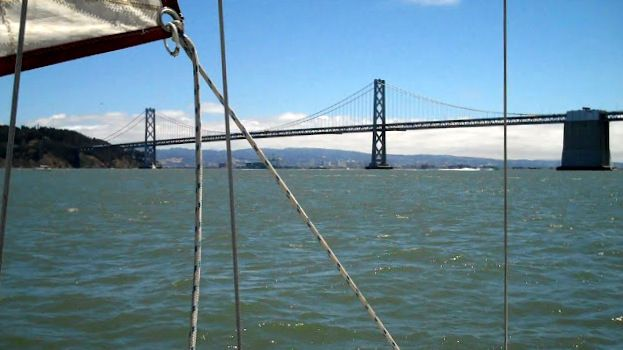 The Bay Bridge from aboard St. Maurice with SanFranciscoBaySailing ...