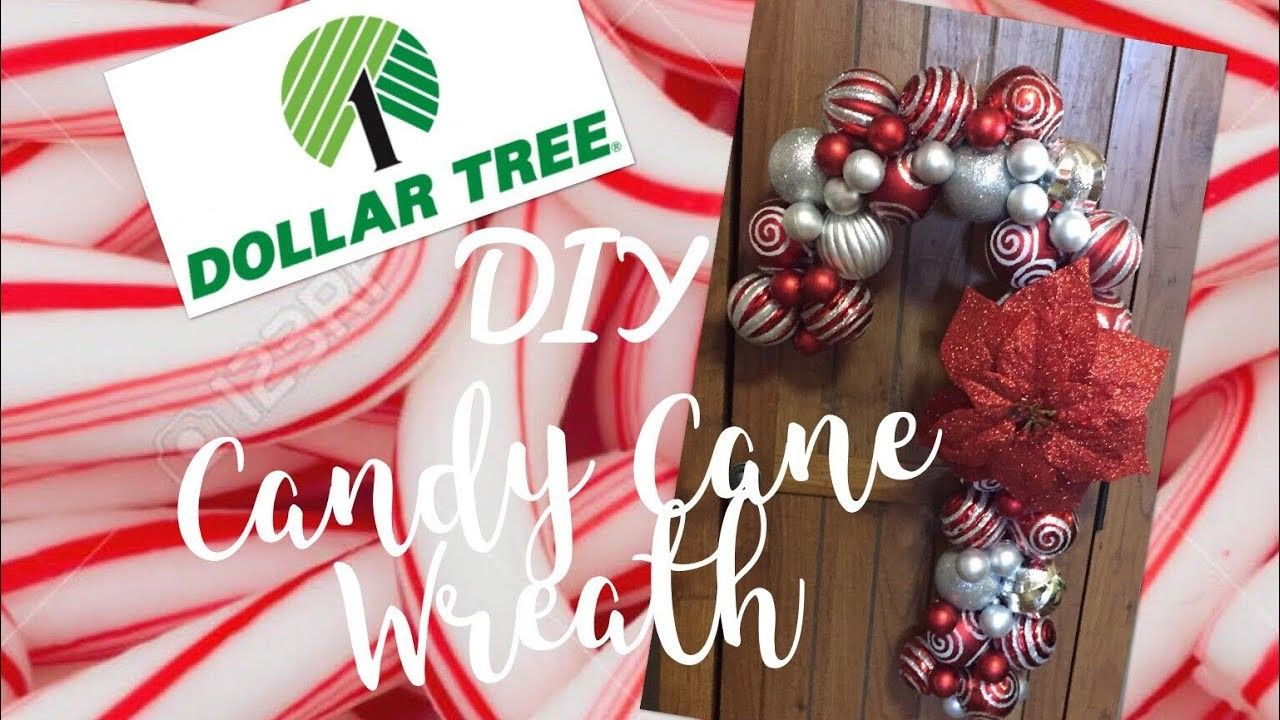 Dollar Tree Diy Ornament Candy Cane Wreath Tutorial Candy Cane