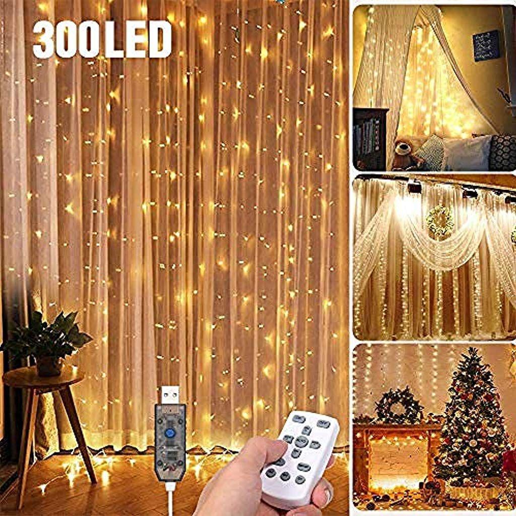 Led Lichtervorhang 3 3meters 300 Led Usb Lichterkettenvorhang Mit 8 Modi Fur Party Deko Schlafzim Led Lichtervorhang Innenbeleuchtung Lichtervorhang