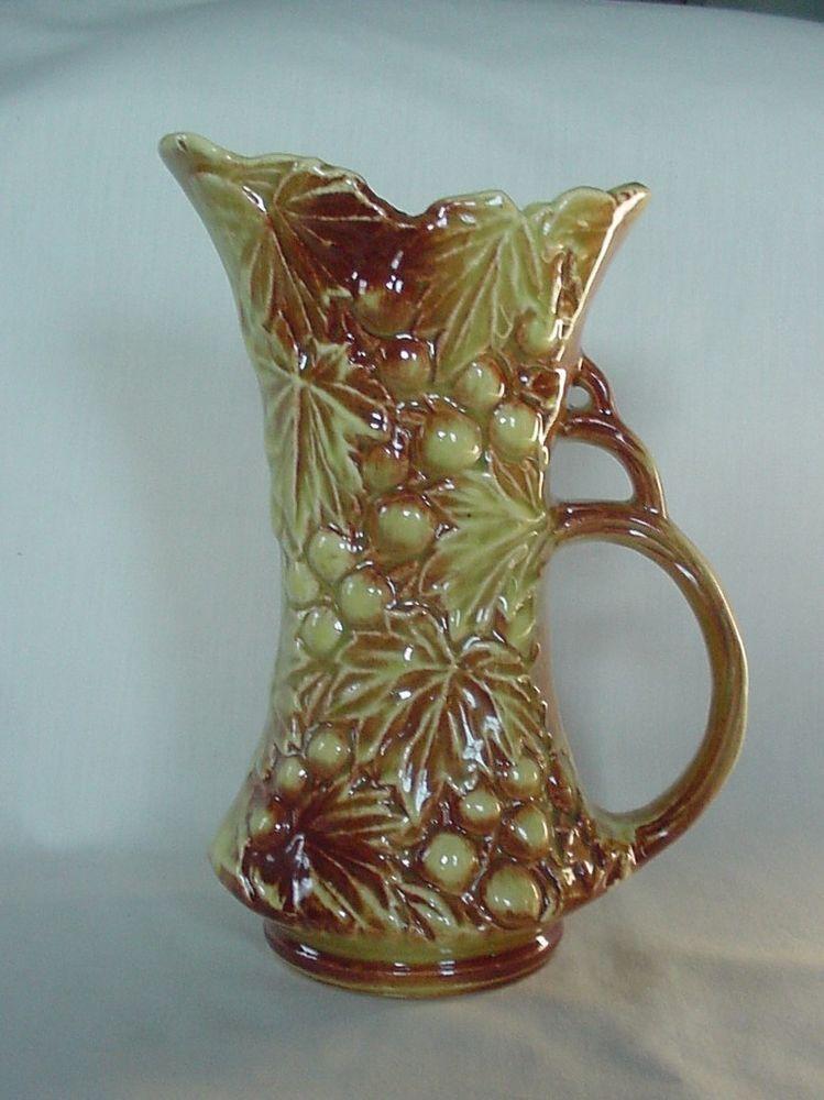 Vintage Gold Brown Mccoy Pitcher Ewer Grape Grape Leaf For