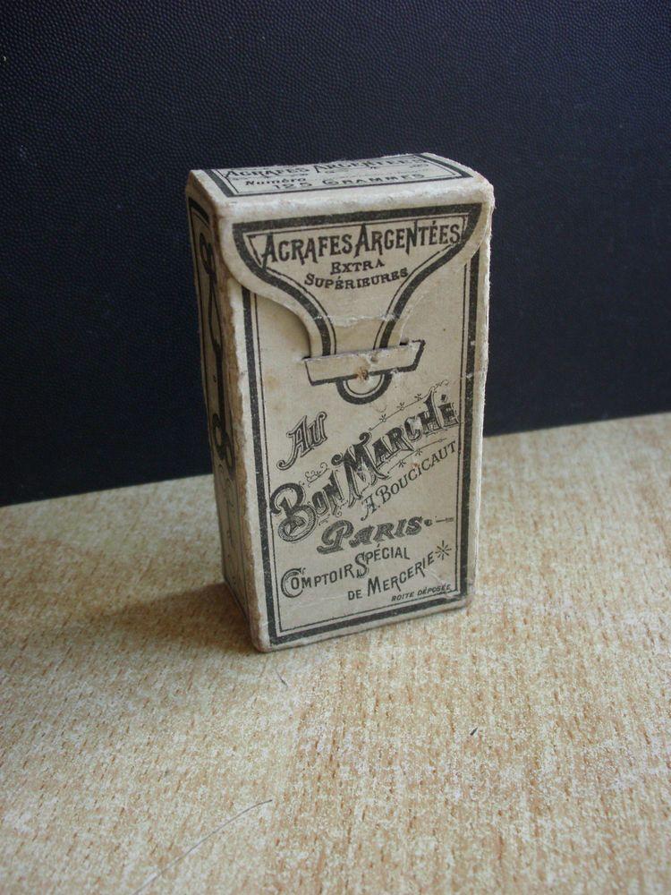 Ancienne Boite Agrafes Au Bon Marche 1890 Mercerie Couture Fil Aiguille Epingle
