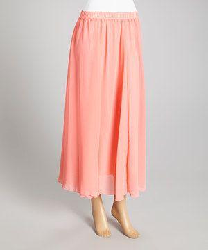Watermelon Chiffon Maxi Skirt by Lady's World