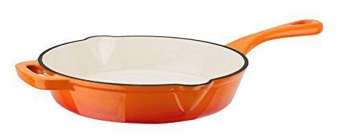 GSW Orange Shadow 716314Lid 26cm Cast Iron Pan with 2Pouring Lips O, Orange/Cream-46x 27,5x 5.5cm