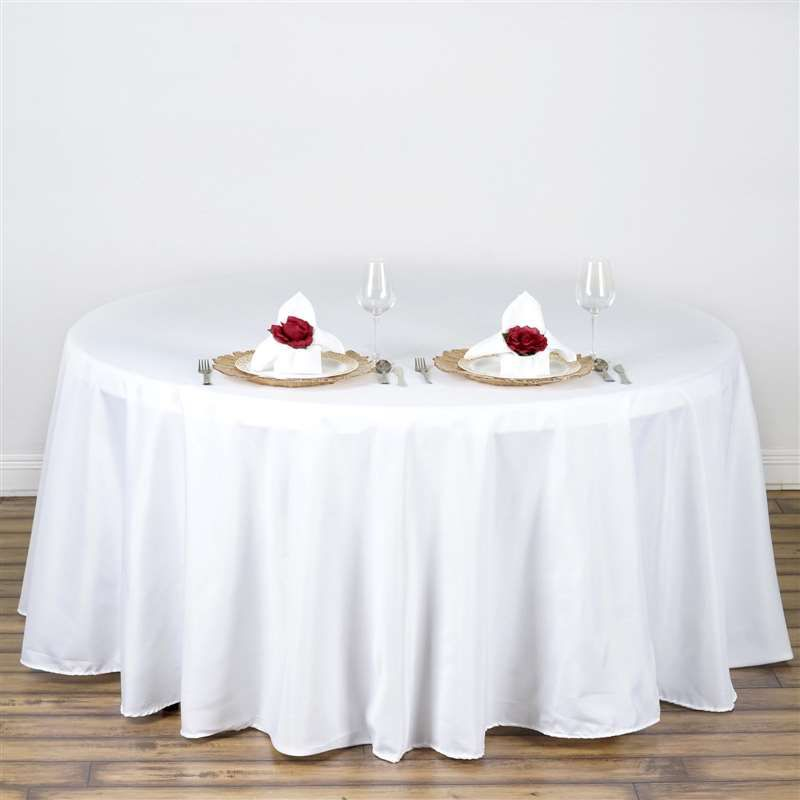 108 white wholesale polyester round tablecloth for wedding banquet