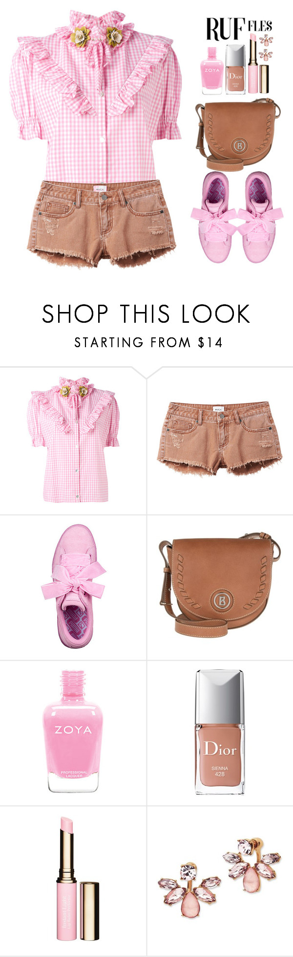 """""""Untitled #828"""" by katymill ❤ liked on Polyvore featuring Antonio Marras, RVCA, Bogner, Christian Dior, Clarins, Marchesa, ruffled and ruffledtops"""
