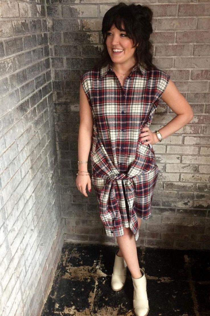 Flannel tie waist dress tie waist dress waist dress