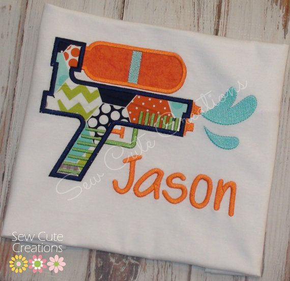 Personalized Water Gun Summer Spring Birthday Pool Shirt  Sale Boys Girls Boutique free monogram short long sleeve custom sew cute