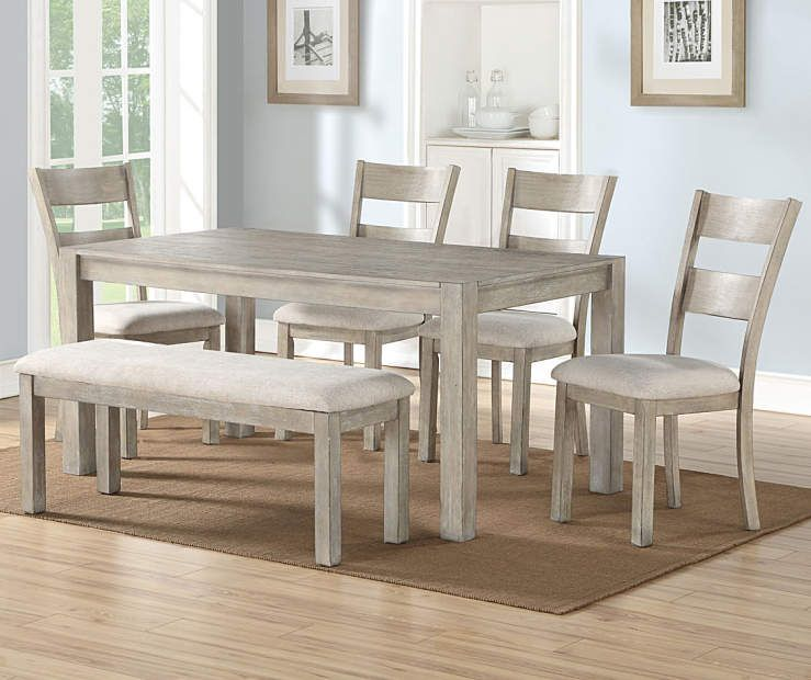 Stratford Hayden Gray 6 Piece Dining Set With Bench Dining Set With Bench Dining Room Sets Grey Dining Tables