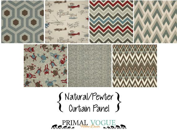 Pewter Natural Red and Blue Curtain Panel by PrimalVogueHomeDecor