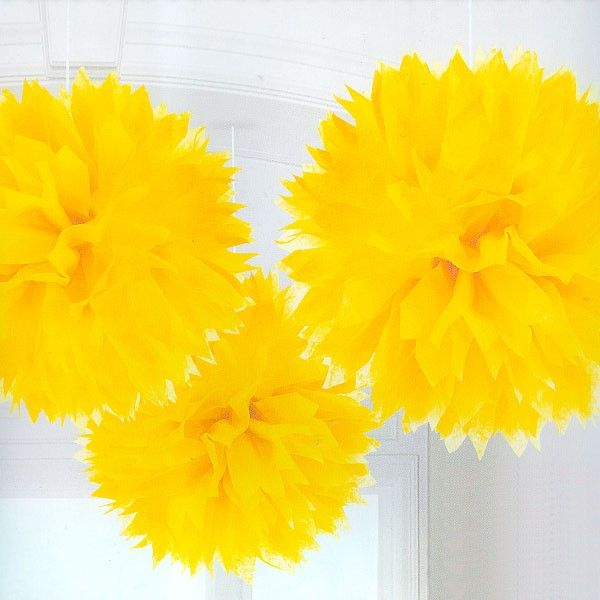 Yellow Tissue Paper Pom Poms