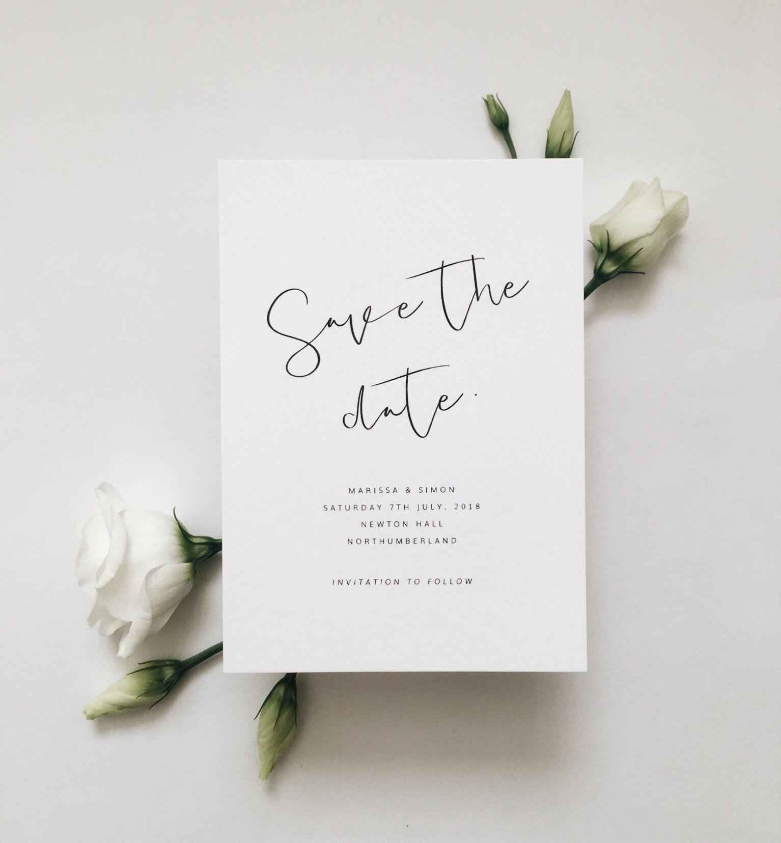 Azalea Save The Date, Wedding Invitation Set, Minimal