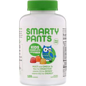 Smartypants 어린이용 포뮬러 및 섬유소 구미젤리 120개 비타민 D 젤라틴 바나나