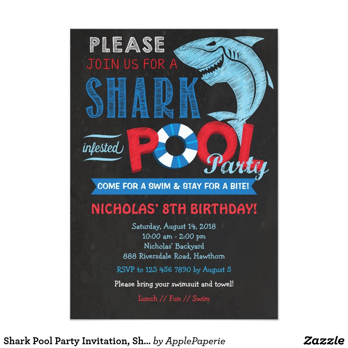 Shark Pool Party Invitation Shark Invitation   Happy Birthday