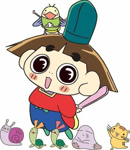 電ボ・カメ吉・カメ子・貧乏神・ハムスターの公子ちゃんとポーズを決めているおじゃる丸です。