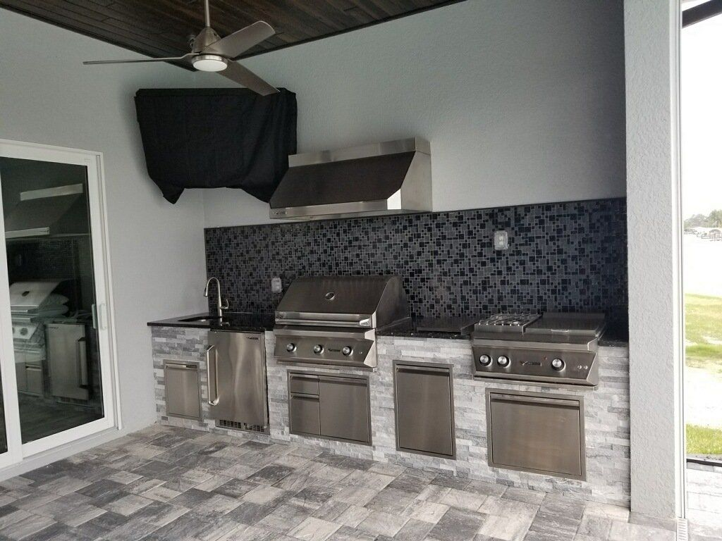 This Simple Straight Run Outdoor Kitchen Features Delta Heat Grills Components Enjoy Your Patio Space Turn It Into A Backyard Hangout Outdoorkitchen Outd