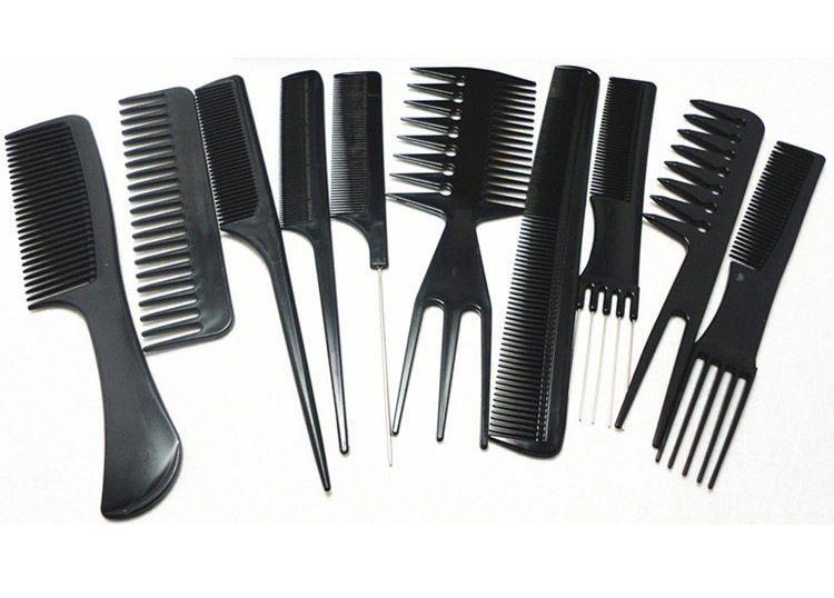 Wholesale 10pcs Set Professional Salon Combs Set Black Plastic Barbers Hair Styling Tools Hairdressing Salon Vh096 Hair Brush Set Hair Tools Hair Brush
