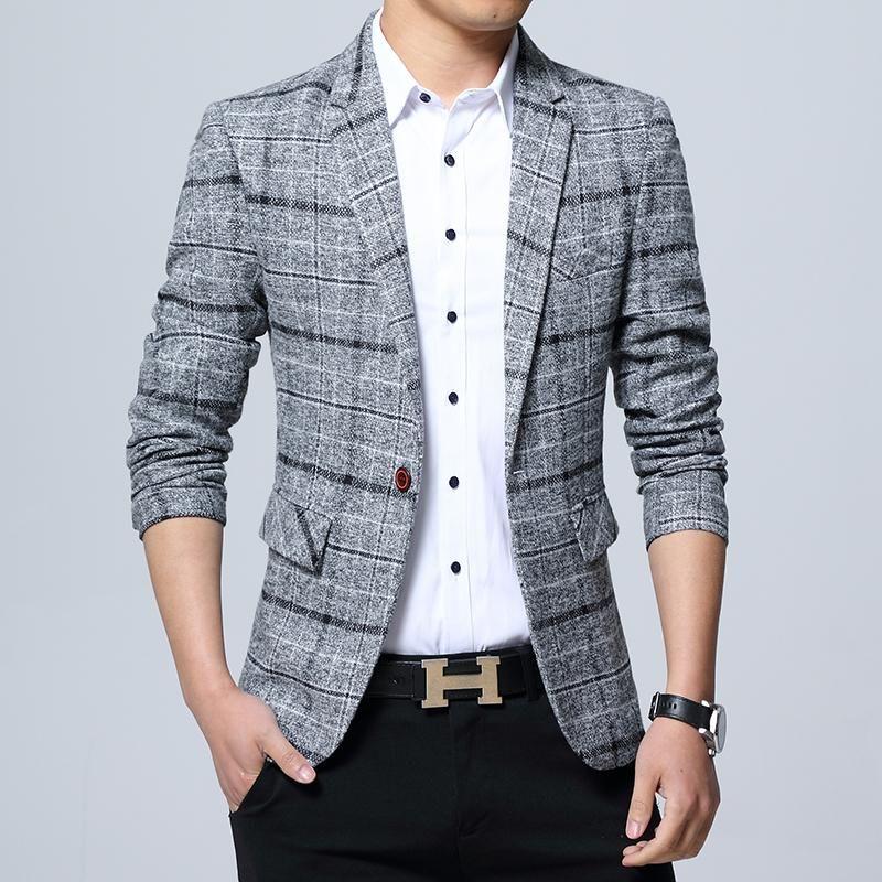 Mens One Button Plaid Blazer Slim Fit Suit Jacket Autumn Sports Coat