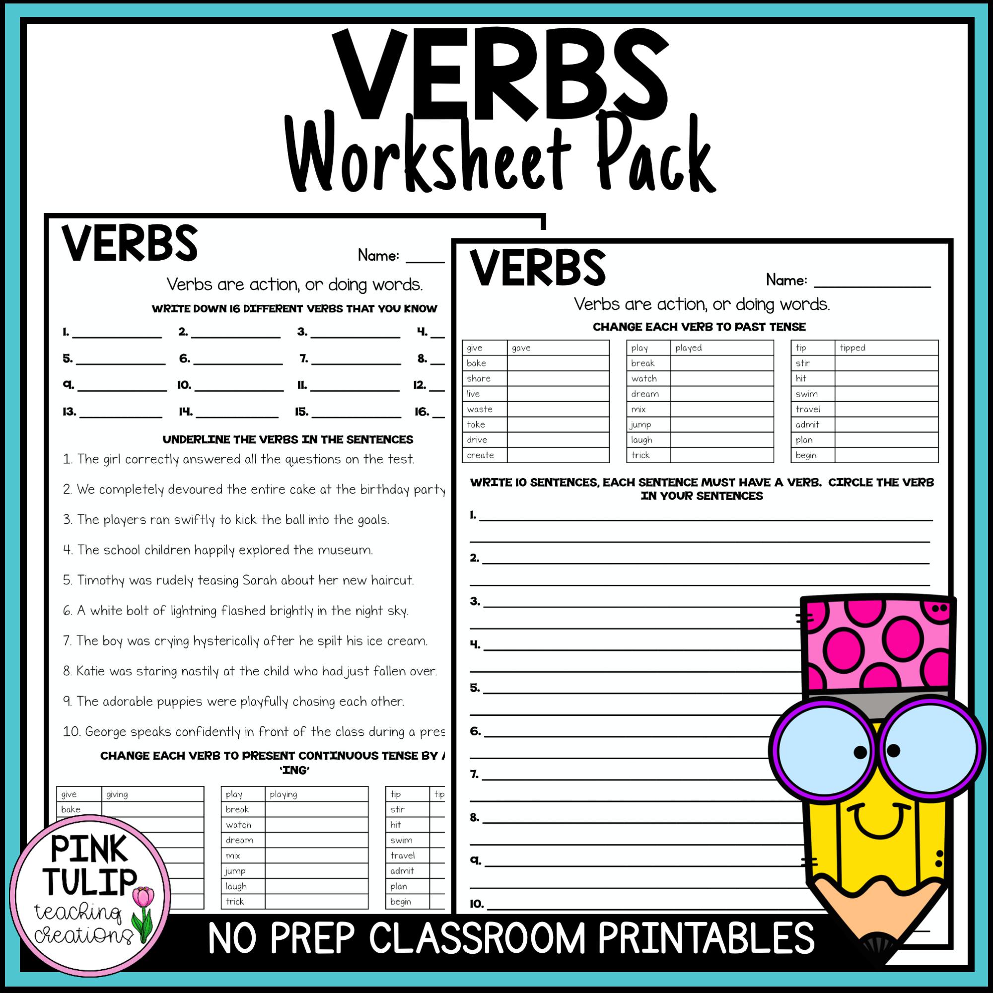 Understanding Verbs Worksheets