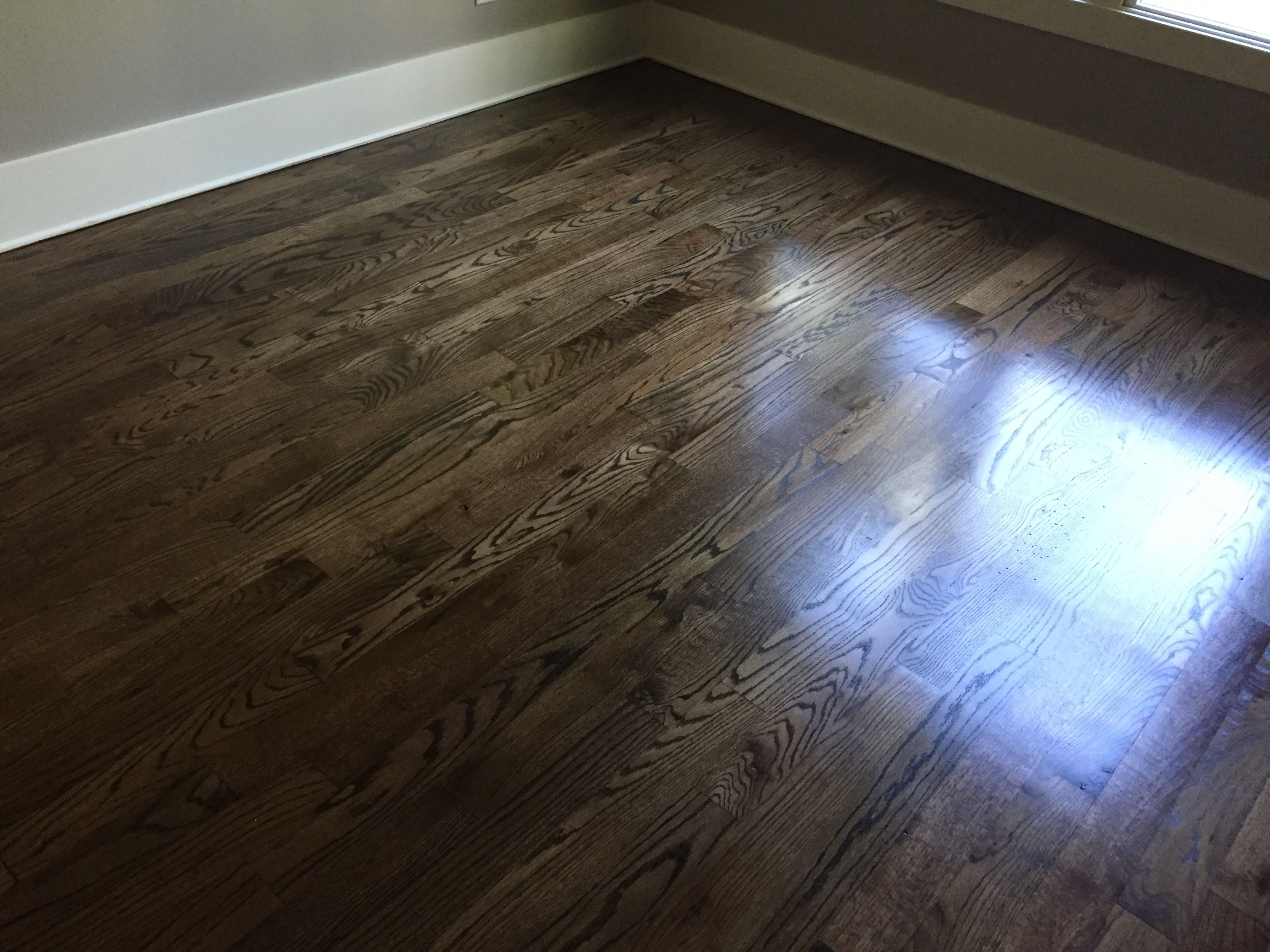 Newly sanded 2 red oak hardwood flooring minwax espresso for Hardwood floors stain colors