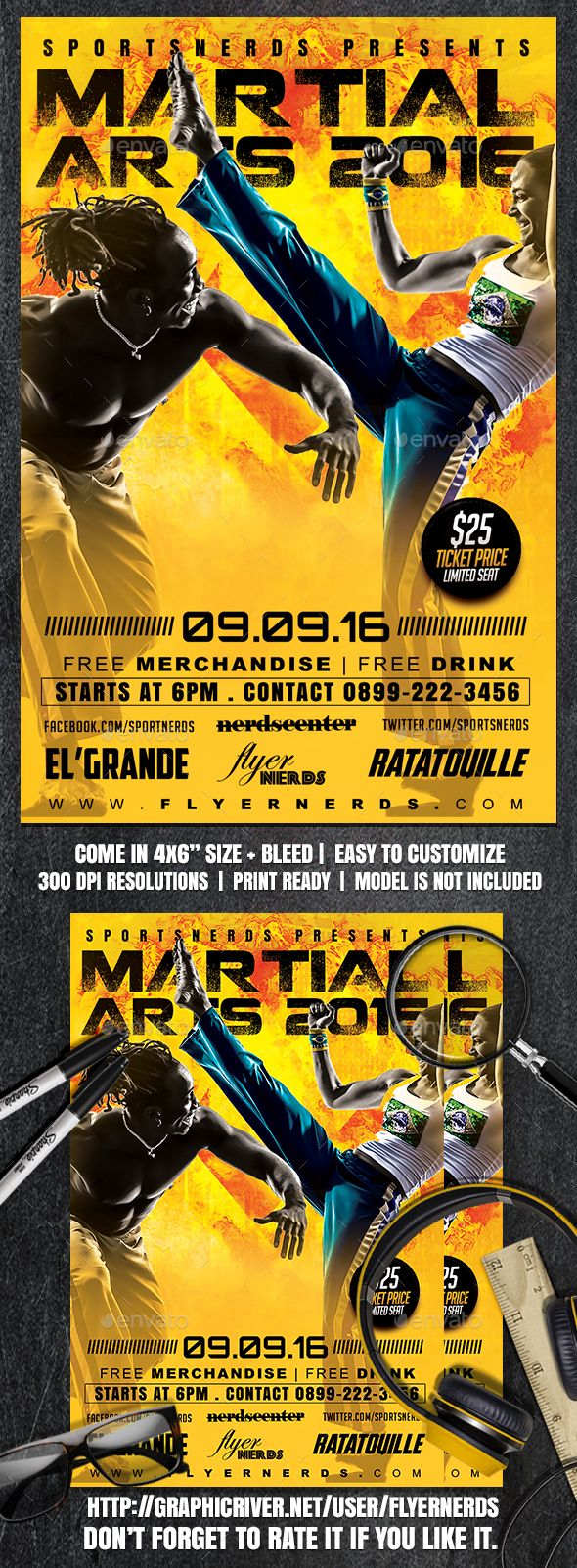 Martial Arts Championships Sports Flyer  Martial Psd Templates