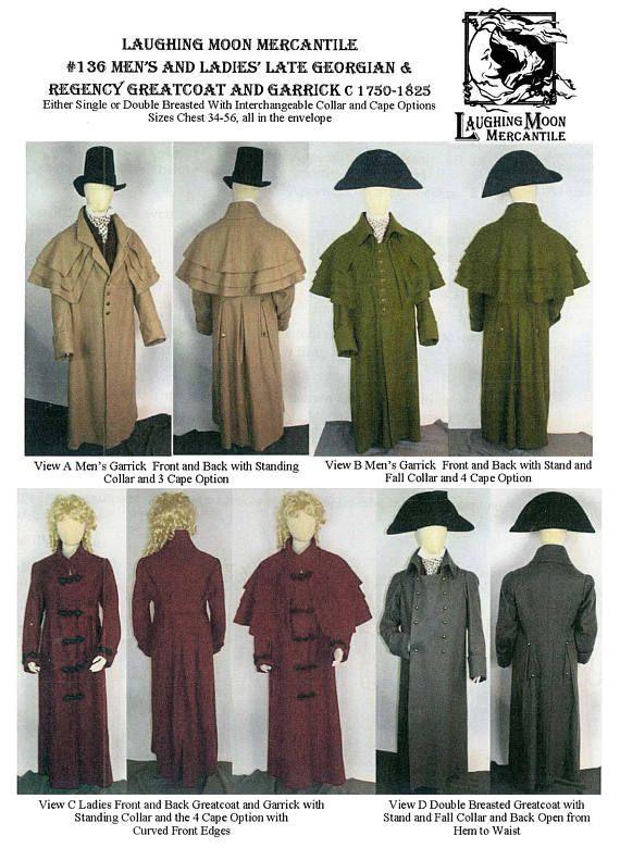 Georgian Regency Greatcoat /& Garrick Men Women Laughing Moon Sewing Pattern 136