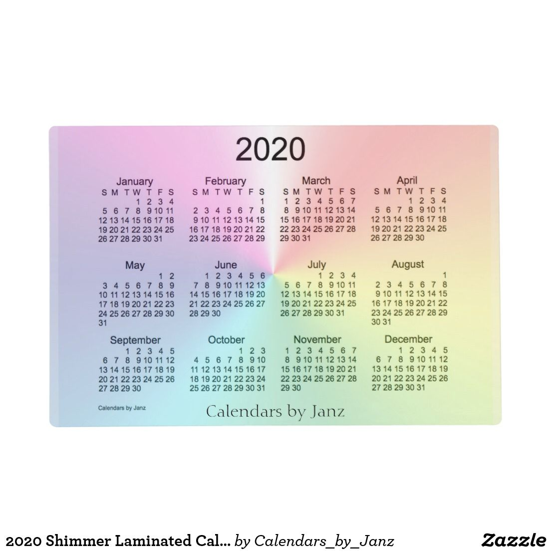 2020 Shimmer Laminated Calendar By Janz Placemat Zazzle Com Custom Calendar Wall Calendar Custom Placemats