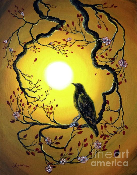 A Raven Remembers Spring Painting,