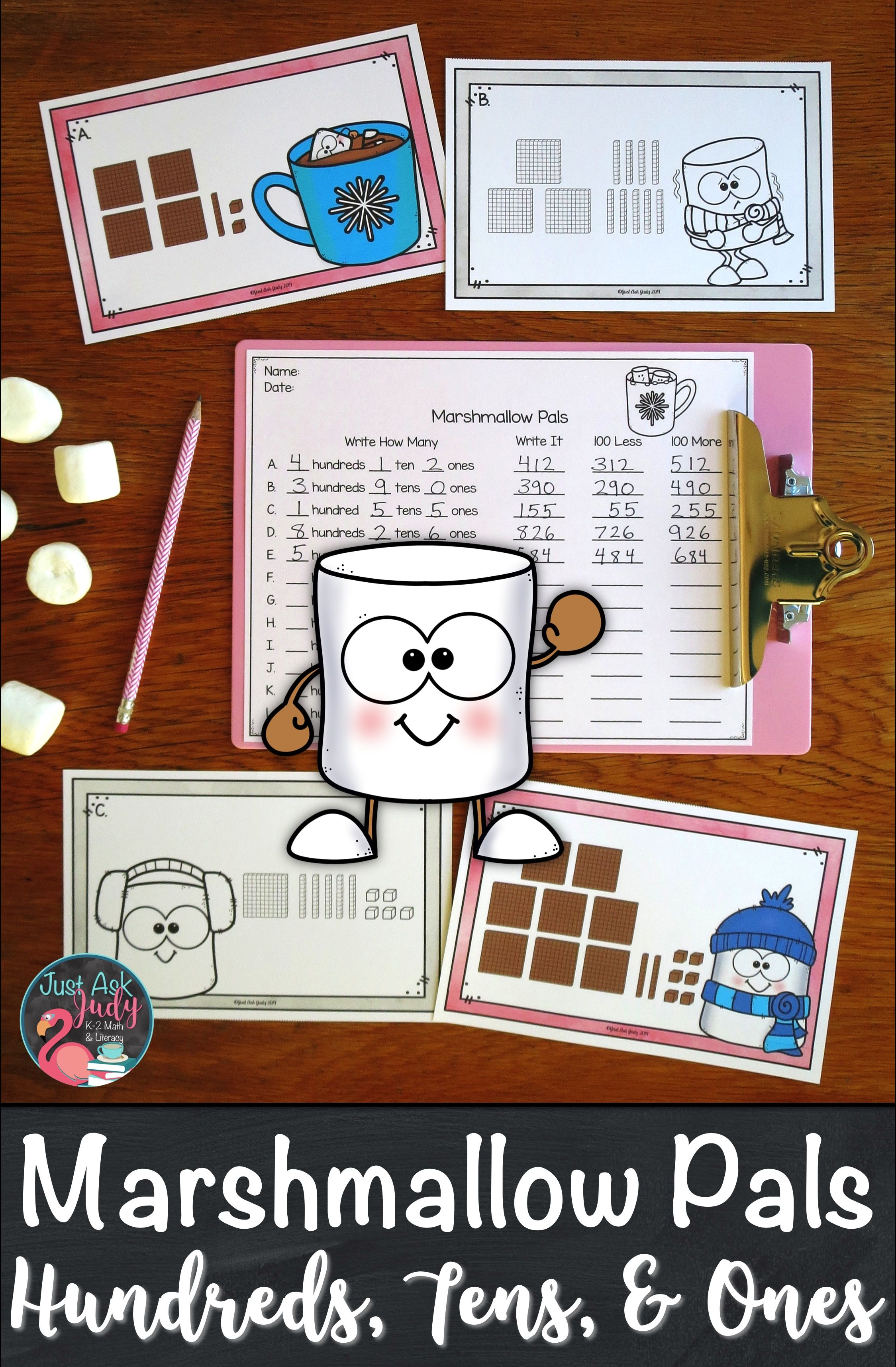 Place Value Activity Hundreds Tens And Ones Marshmallow Pals Place Value Activities Place Values Winter Math Write hundreds tens and ones