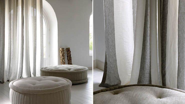 tissu pour rideaux ray en toile l g re de lin stonewashed. Black Bedroom Furniture Sets. Home Design Ideas