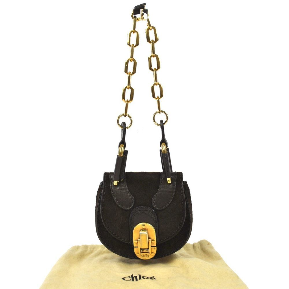 Authentic CHLOE Logos Chain Hand Bag Pouch Dark Brown Suede Italy Vintage R01383