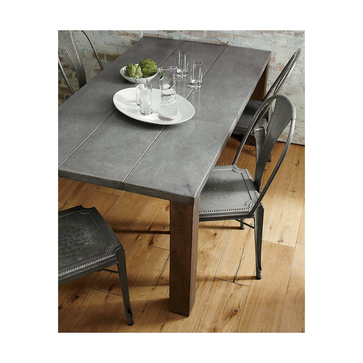 Crate And Barrel Dakota Table Live Edge Oak With Fumed Finish Needs Protective Topcoat Metal Dining Chairs Dining Table Dining Table Gold