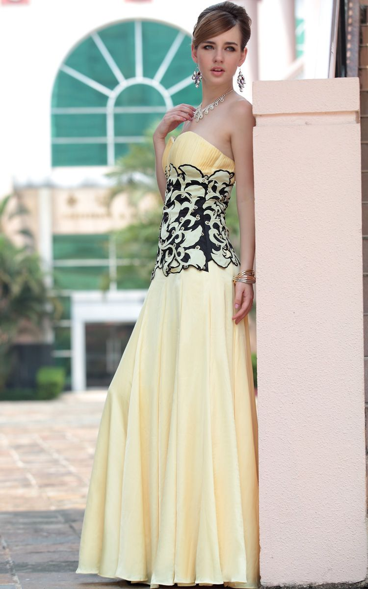 Yellow sexy off shoulder pleated floor length gowns evening dress