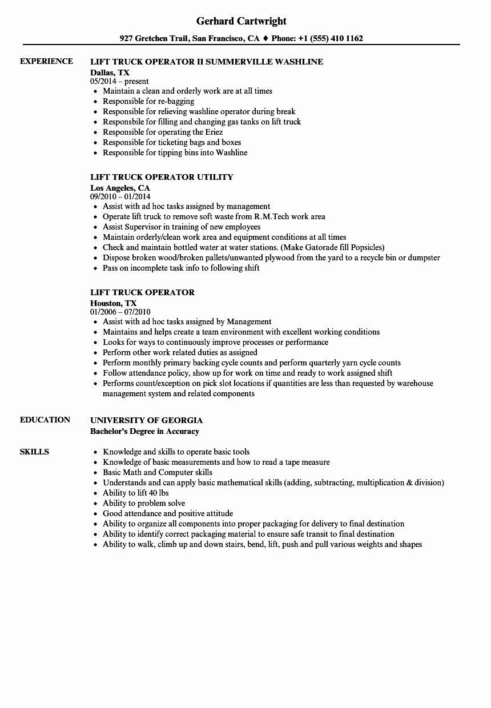 Certified Forklift Operator Resume Inspirational Lift Truck Operator Resume Samples