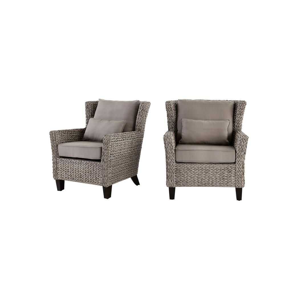 All Weather Wicker Outdoor Chairs Rocking Chair Cushion Sets Hampton Bay Megan Grey Lounge With 2 Pack