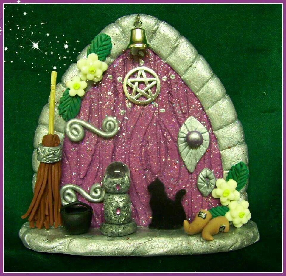 Purple witch fairy door fairies pinterest fairy for Purple fairy door