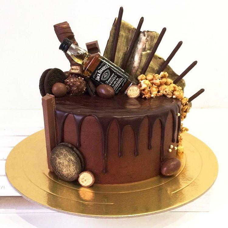 Jack Daniels 50th birthday cake Layers of chocolate cake