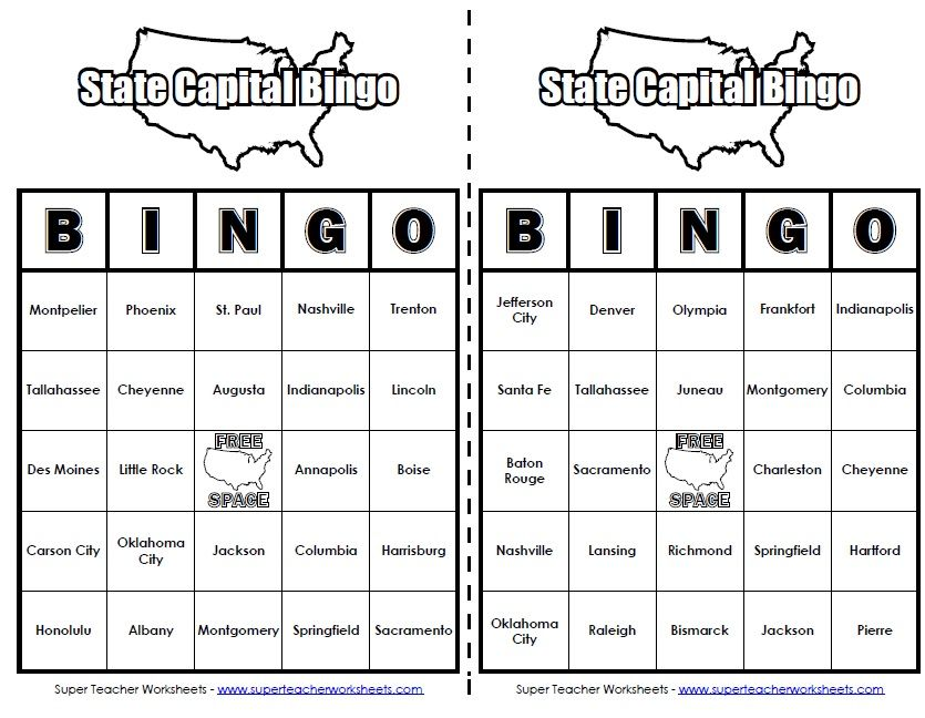 Play This Quot 50 States Bingo Quot Game To Review States
