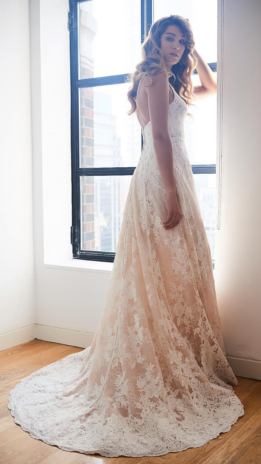 6aea4bafd The pale blush underlay of Kelly Faetanini's MAIA gown makes this look  oh-so-irresistibly romantic. Maia wedding dress by Kelly Faetanini //  Chantilly lace ...