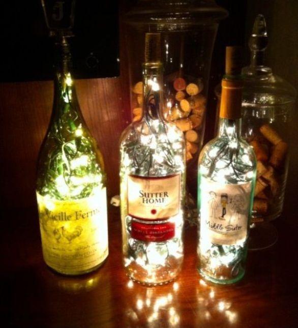lmpara casera con botellas de cristal vidrio Jaco y mami