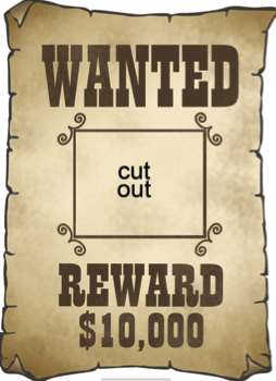 Wanted Poster Template1 Png 254 350 Pixels Anniversaire Cow Boy Fete A Theme Cow Boy Affiche Wanted