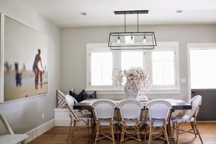 Beautiful Dining Area With Walls Painted Benjamin Moore Gray Owl Accented A Thom Filicia Warm