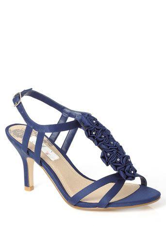 1d1729e7033256 Navy Fashion Wide Fit Diamante Corsage T Bar Sandals