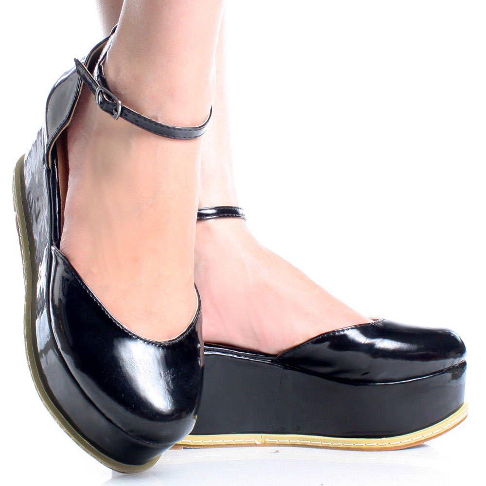 Black enclosed sandals - Black Patent Closed Toe Ankle Strap Women Flatform Sandals Shoes