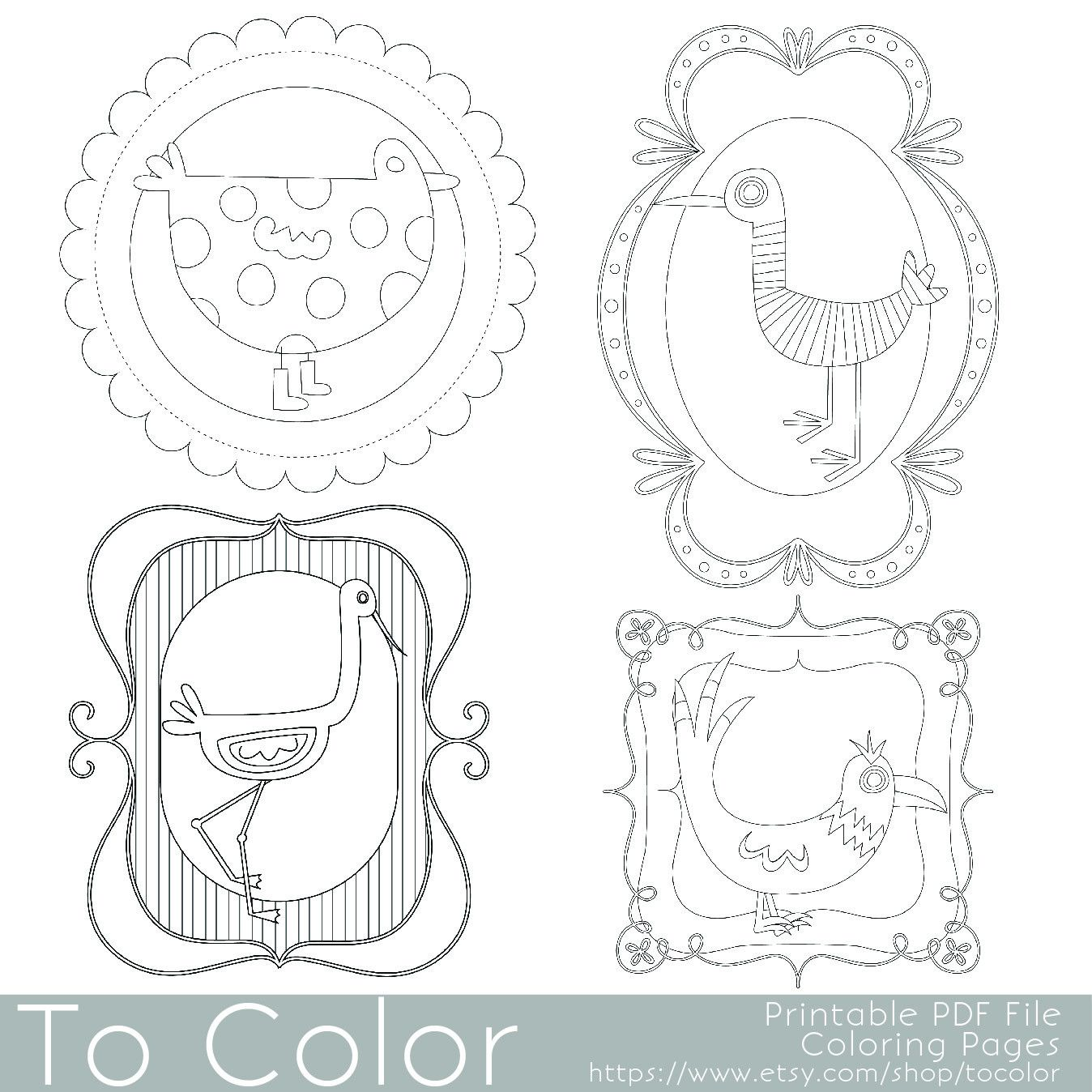 Here Are 4 Whimsical Bird Coloring Pages Designed To Fit On The