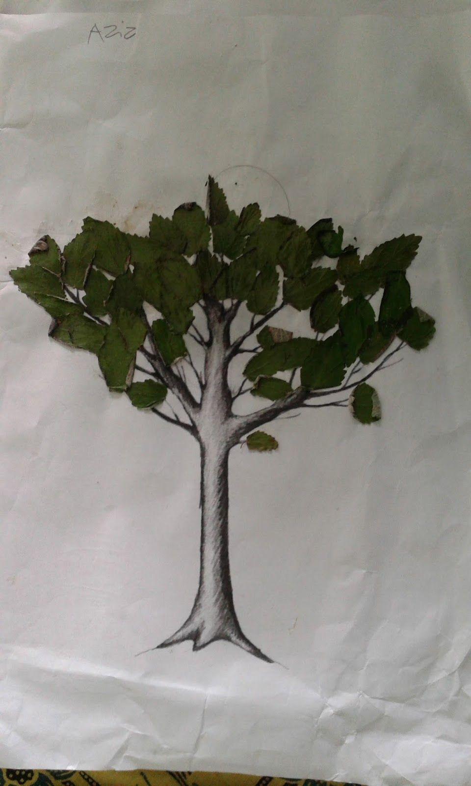 Gambar Kolase Pohon Dari Daun Kering Kolase, Gambar, Bunga